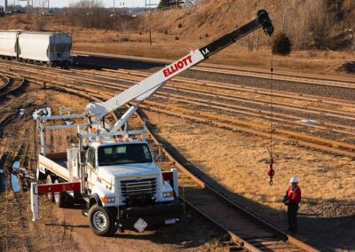 truck working on rail road