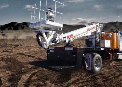 truck imposed on dirt in desert