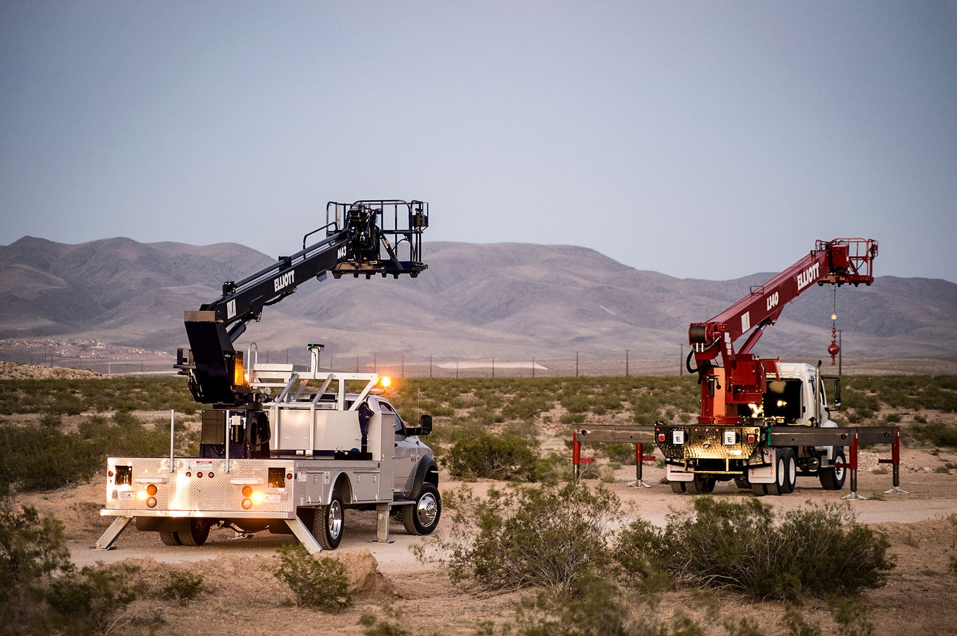 HiReach trucks in desert